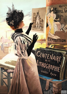 lithography vintage poster french lithograph belle époque exposition