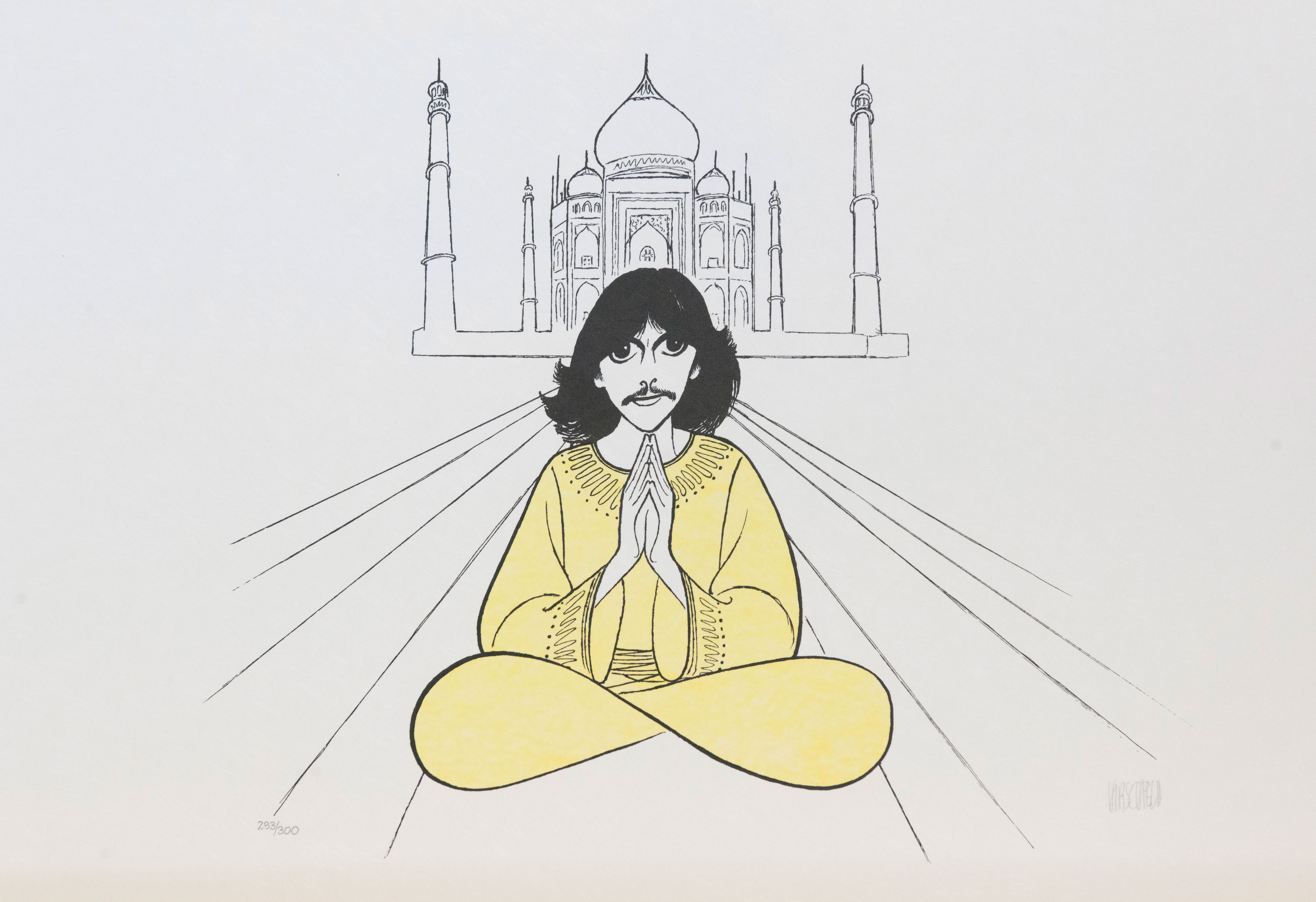 Al Hirschfeld master of line new yorker cartoon celebrity art George Harrison Taj Mahal infinity sign