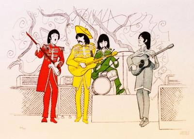 Al Hirschfeld master of line new yorker cartoon celebrity art The Beatles Srgt Pepper