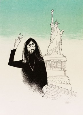 Al Hirschfeld master of line new yorker cartoon celebrity art John Lennon peace sign statue of liberty
