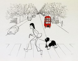 Al Hirschfeld master of line new yorker cartoon celebrity art Paul McCartney Abbey Road sheep dog double decker bus London