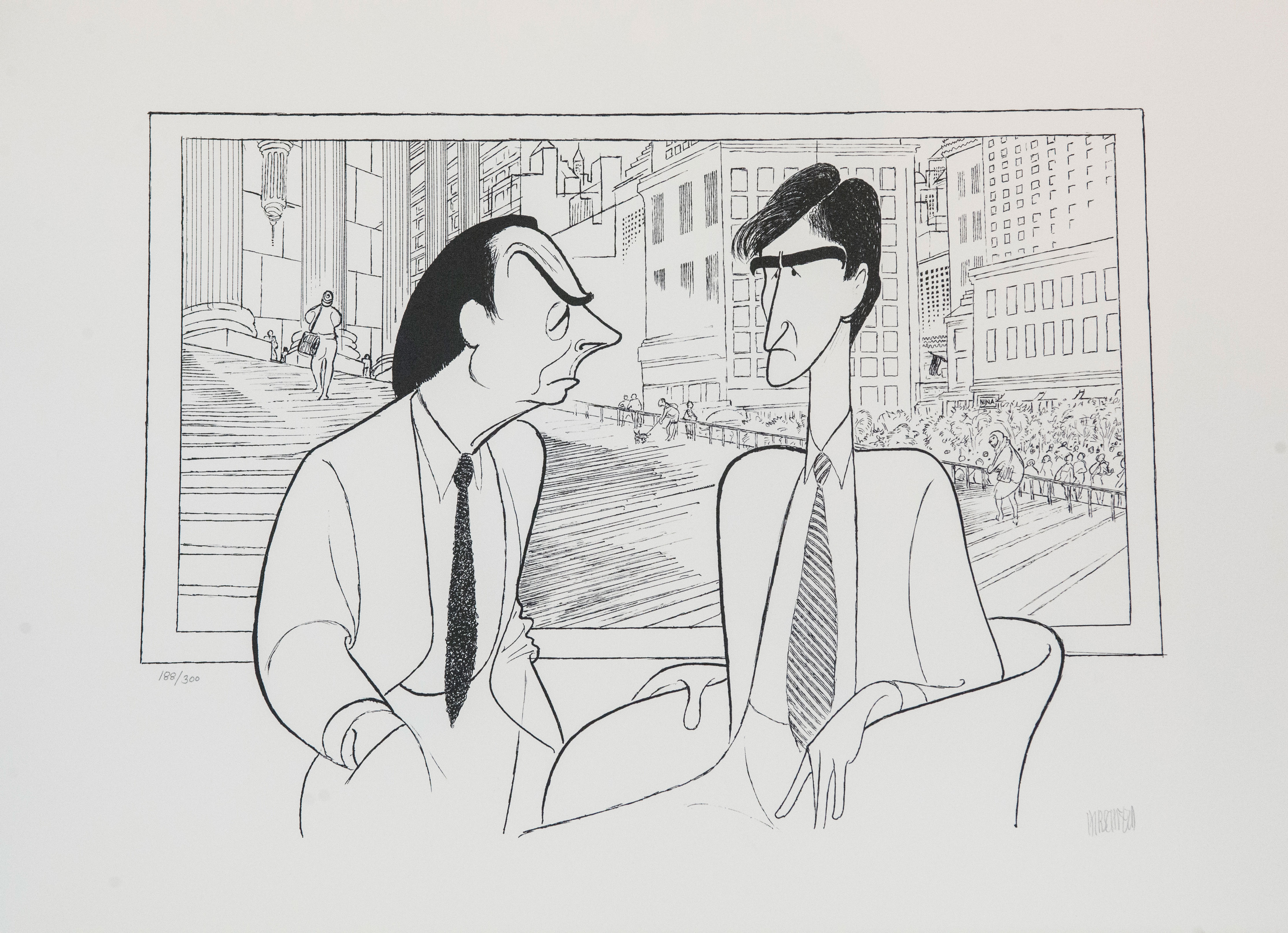 Al Hirschfeld master of line new yorker cartoon celebrity art Law and Order Sam Waterson Jerry Orbach