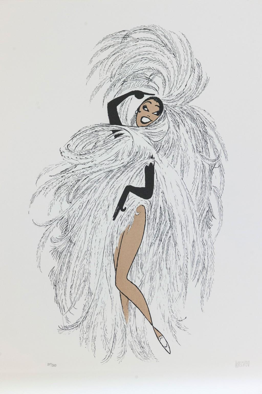 Al Hirschfeld master of line new yorker cartoon celebrity art Josephine Baker Paris fan dance feathers