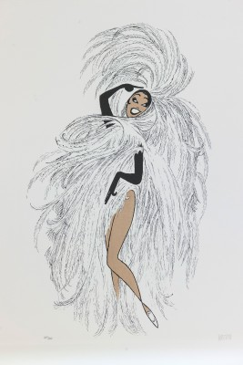 Al Hirschfeld master of line new yorker cartoon celebrity art Josephine Baker Paris fan dance feathers