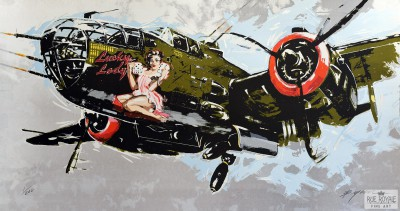WWII Bomber Lucky Lady Pin-up roll the dice Michael Bryan fine art print