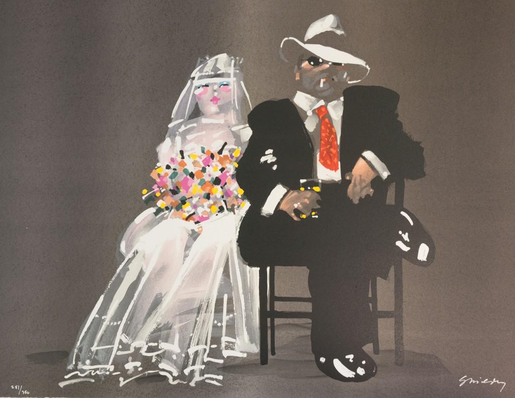 Waldemar Swierzy gangster art wedding bride fine art lithograph white dress wedding bouquet cocktail