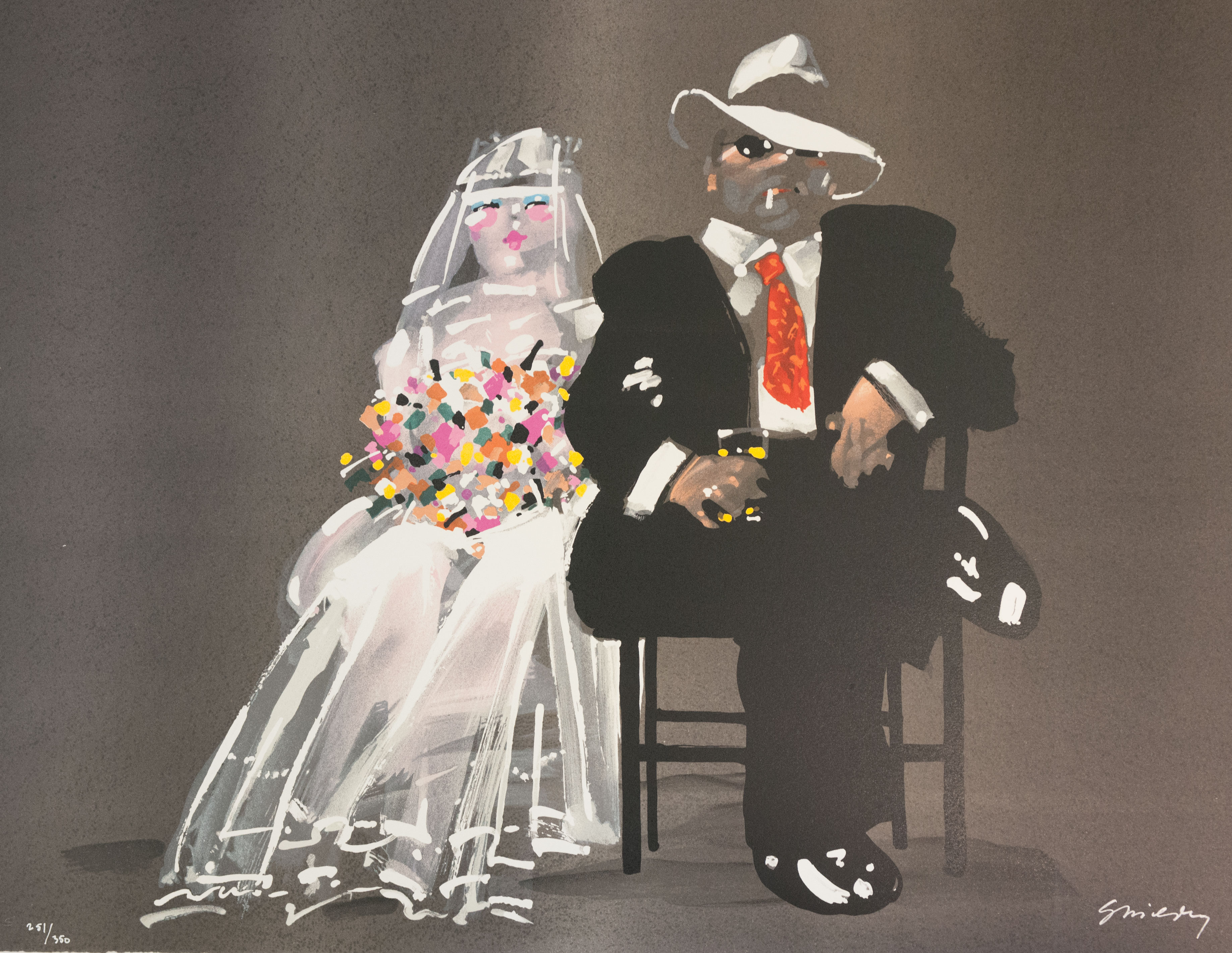Waldemar Swierzy gangster art wedding bride fine art lithograph white dress wedding bouquet cocktail