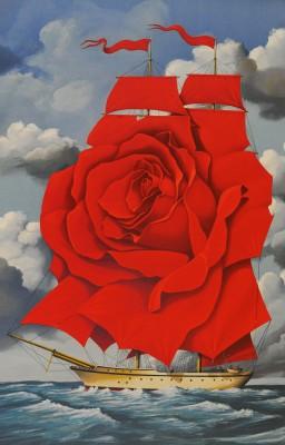 Rafal Olbinski Polish Poster surrealist surrealism dreamscape ocean rose ship