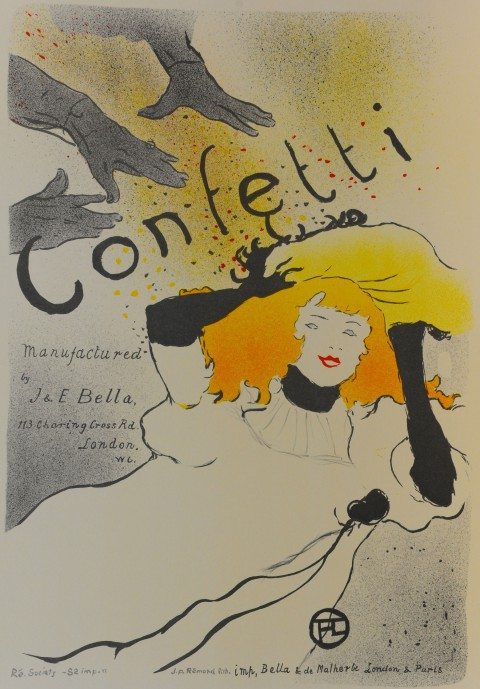 Confetti poster, with woman being showered in confetti