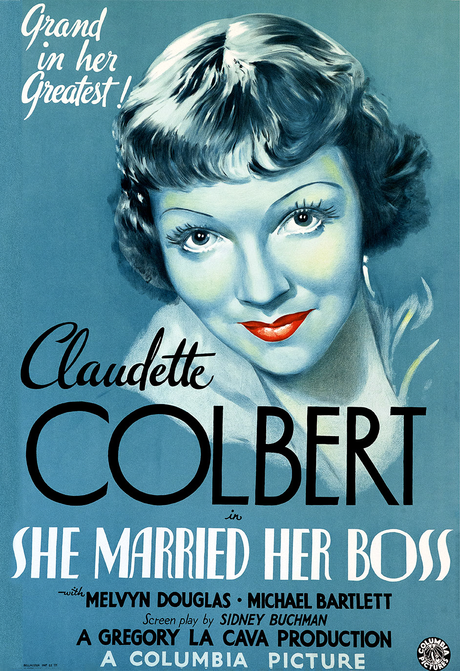 Claudette Corbert She Married her Boss columbia picture fine art lithograph movie poster classic film classic movie poster golden age of cinema one-sheet red lips