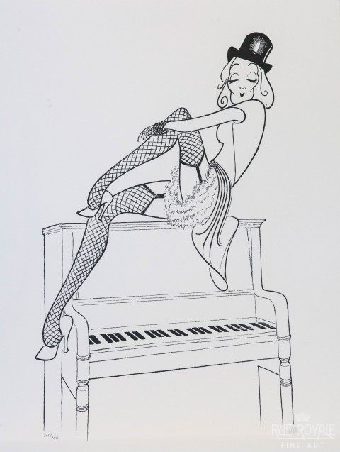 """Marlene Dietrich – Lili Marlene"" by Al Hirschfeld. Black and white line drawing of woman sitting on a piano."