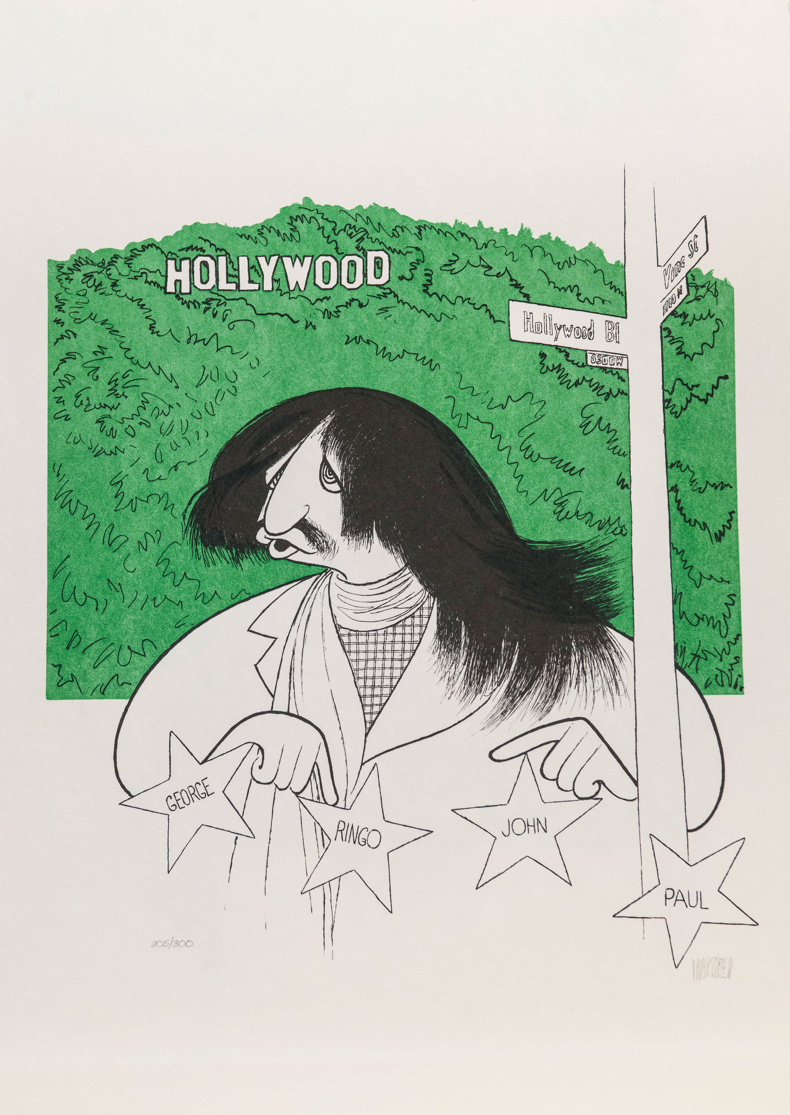 Al Hirschfeld master of line new yorker cartoon celebrity art Ringo Starr Hollywood walk of fame hollywood sign