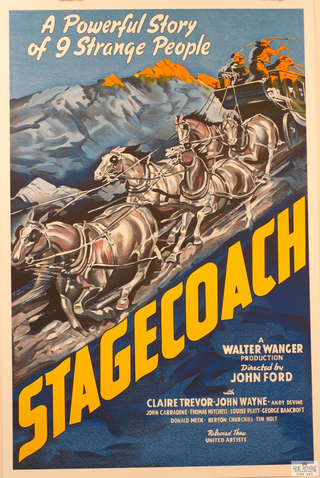 Stagecoach vintage movie poster fine art lithograph john ford classic movie poster vintage movie poster fine art lithograph one-sheet golden age of film