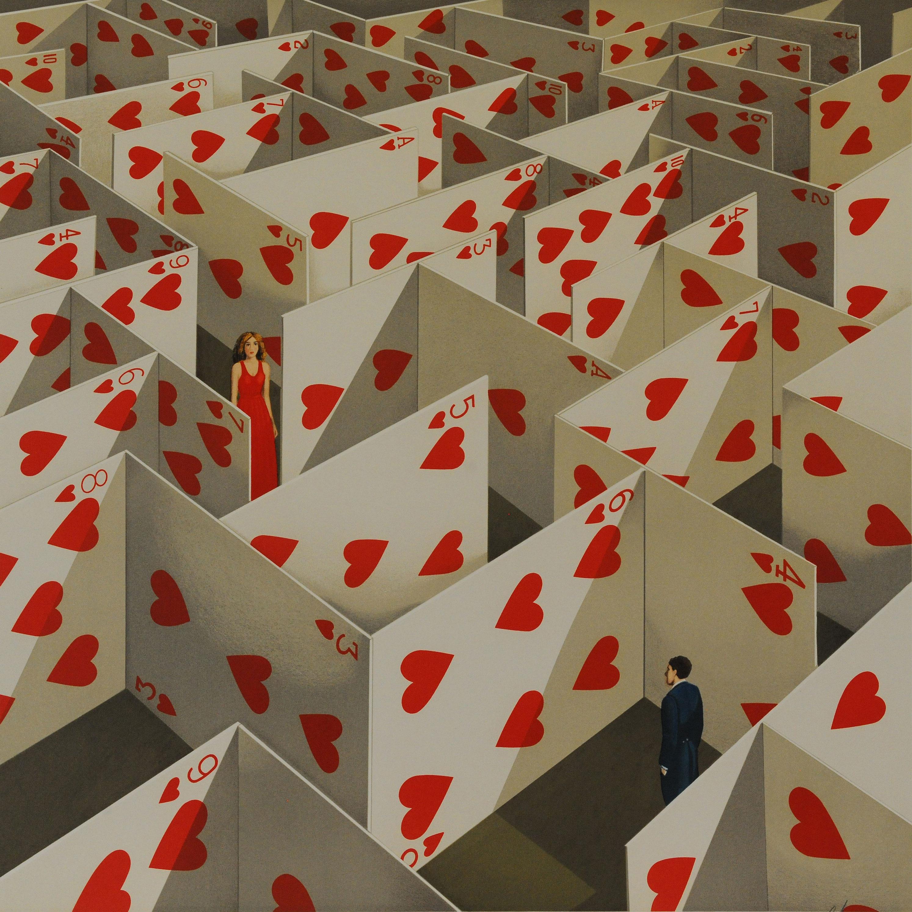 Rafal Olbinski Polish Poster surrealist surrealism dreamscape cards red hearts maze