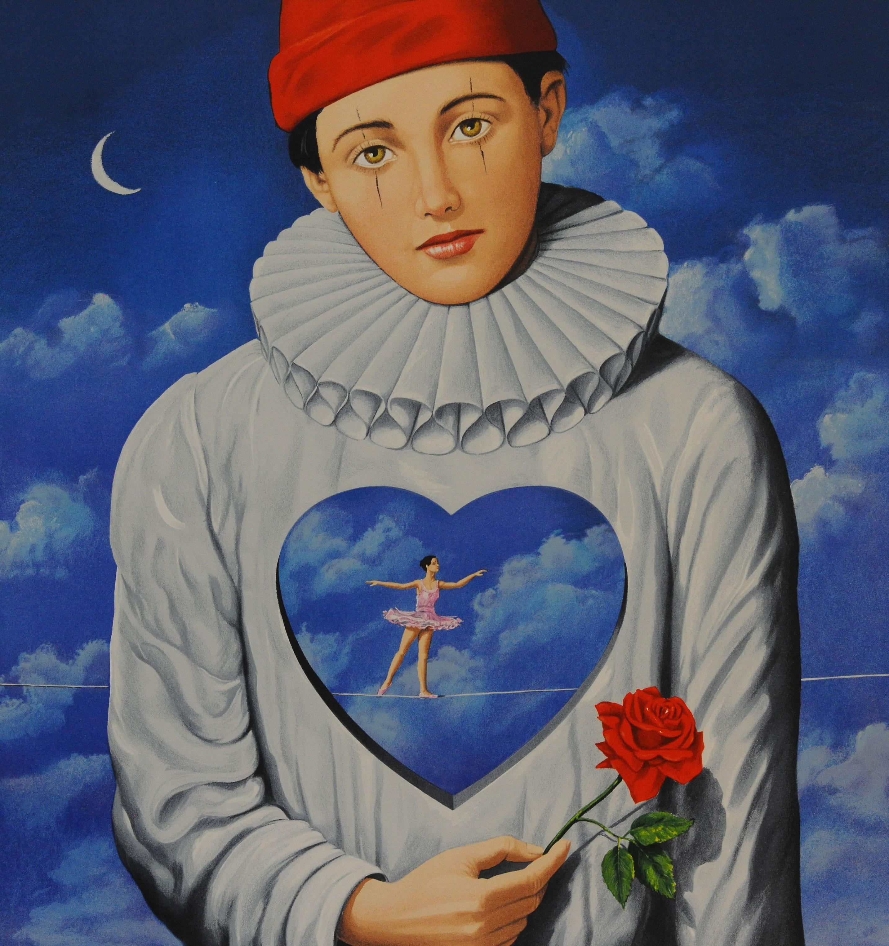 heart ballerina rose sad clown red beanie blue clouds crescent moon